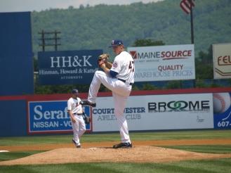 Noah Syndergaard in action at Binghamton in 2013.